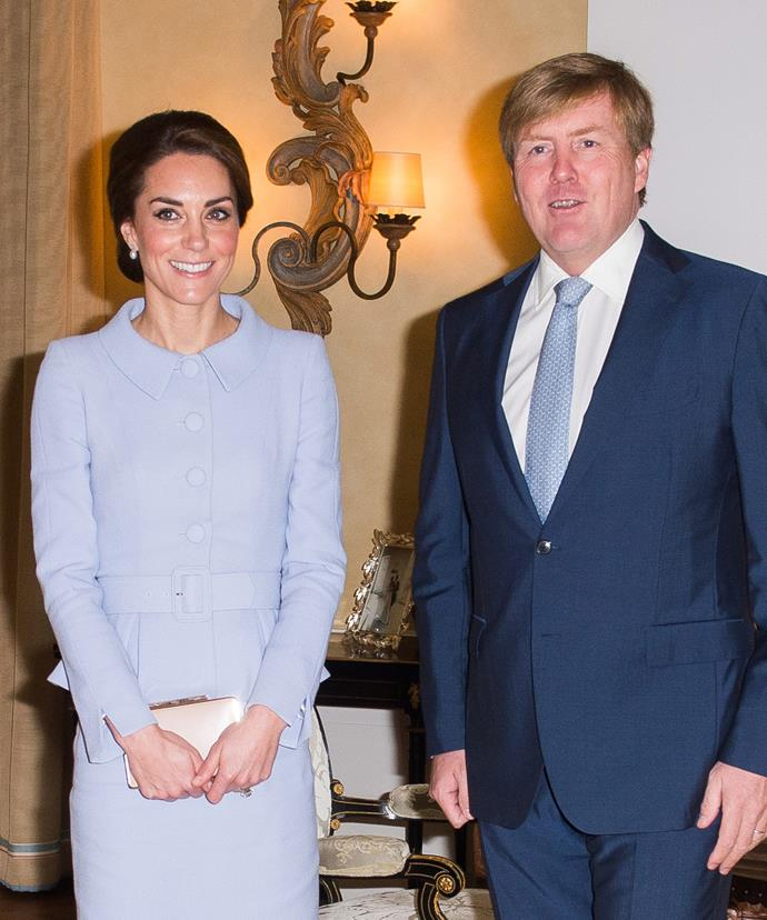 The Duchess and the King had lunch together to begin her trip.