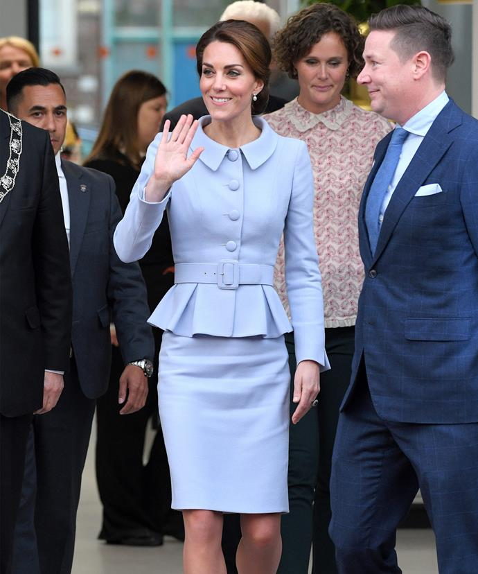 Kate looked every inch the royal ambassador without Wills by her side.