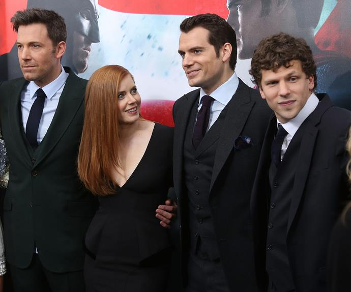 Jesse, pictured with Ben Affleck, Amy Adams and Henry Cavill, starred as Lex Luthor in *Batman v Superman*.
