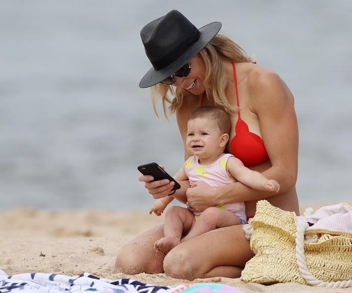 Candice and baby Indi, who was baptised last month, laughed together over some sweet selfies.