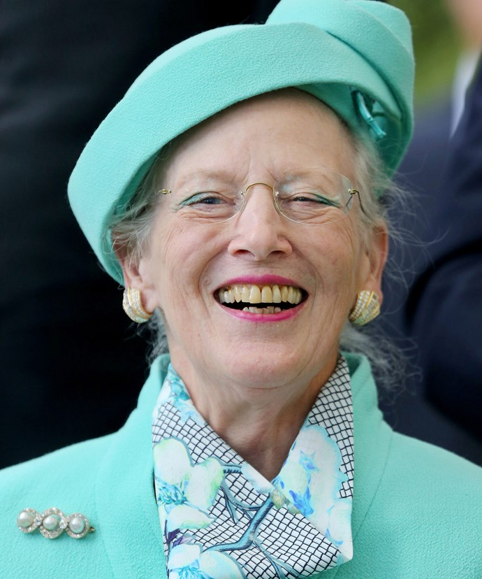 The young at heart Queen took a moment to joke of her son's trampoline tricks.