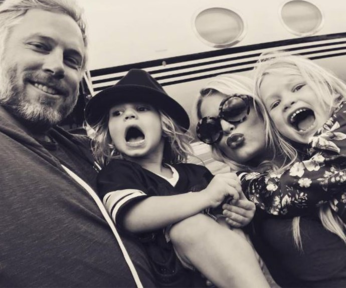"Recently the star also posted this family snap with her hubby Eric Johnson and their two little ones before jetting off on a family holiday. ""Travel Buddies,"" she wrote."