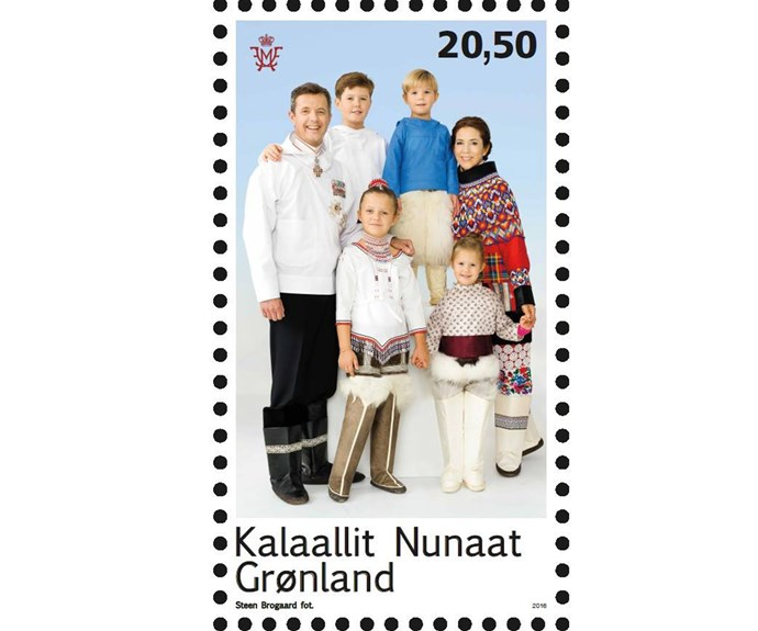 In the special edition stamp, the family are dressed to the nines in [traditional costumes of Greenland](http://www.nowtolove.com.au/royals/international-royals/princess-mary-and-her-family-appear-on-stamp-for-greenland-3156), a nod to the couple's first tour abroad as newlyweds.
