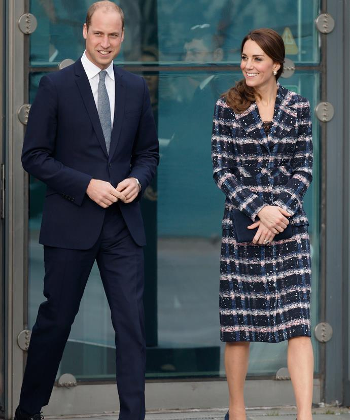 The couple colour co-ordinated in matching navy hues - Kate in an Erdem coat and skirt.