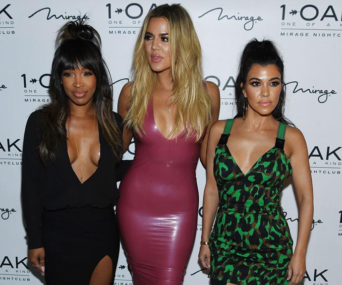 A very trim Khloe Kardashian does a club appearance with older sister Kourtney and best friend, Malika Haqq.