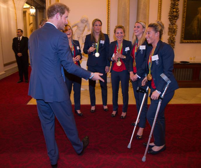 Prince Harry chats with some of Team GB.