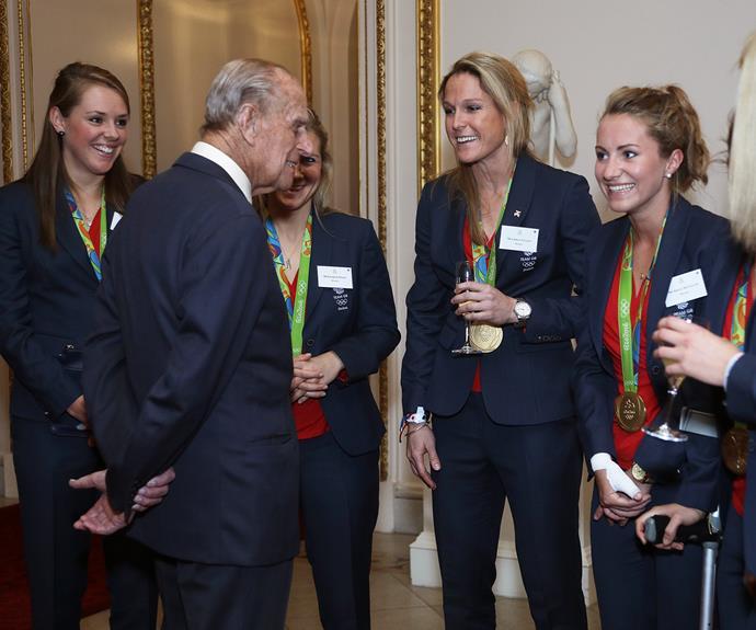 Prince Philip meets the British ladies hockey team.