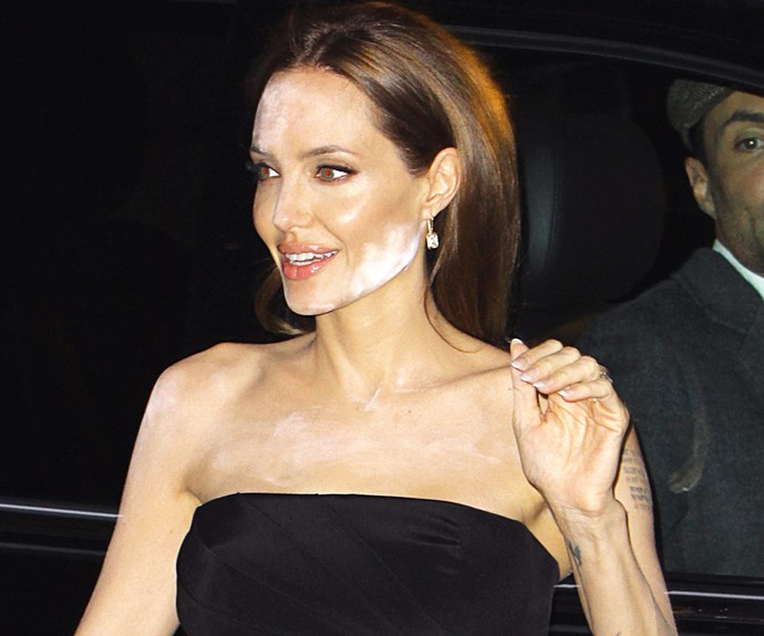 Angelina Jolie has been dubbed one of the world's most beautiful woman, but this powder blunder caused more than the usual amount of double takes when the star stepped out for the *Normal Heart* premiere in New York City.