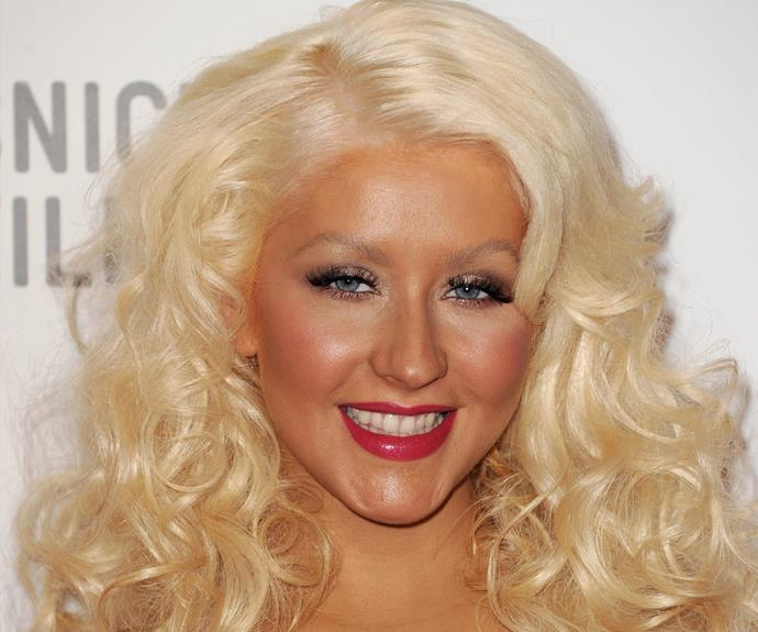 How could we forget Christina Aguilera's blending blunder. The star's ivory hairline makes a stark contrast to her sunkissed face.