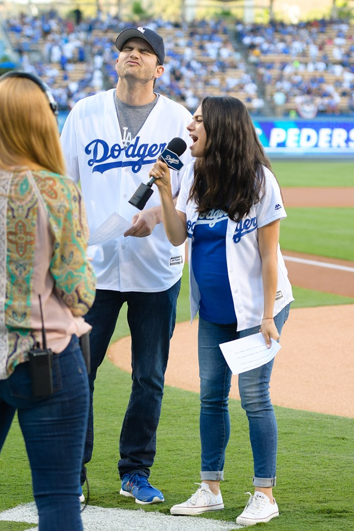This is what happens when you let to celebrity mega fans take the mic at a Dodgers game.