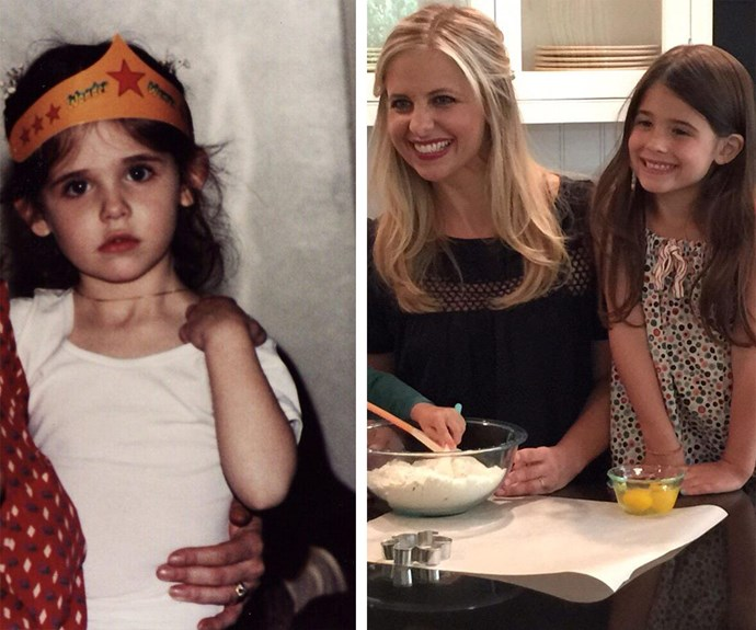 Before she was Buffy, Sarah Michelle Gellar was slaying life as a brunette. Now her daughter Charlotte is following in the footsteps of her baking and butt-kicking mamma. Adorable.