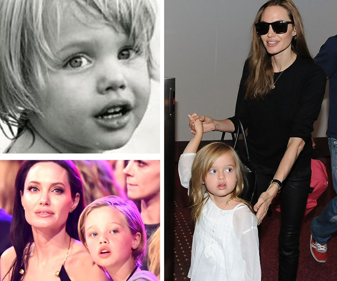Good genes definitely run in the Jolie-Pitt family. Angelina's childhood snap (top left) made us do a double take for a second. When Shiloh was a toddler she looked exactly the same thanks to her big eyes and beautiful pout.