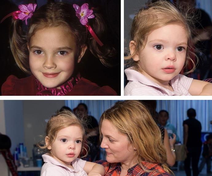 It might be hard to compare a toddler with a mum who's had more hairstyle changes than we've had hot dinners, but little Olive definitely has the same button nose and eyes as a young, *ET*-era Drew Barrymore. Cute!