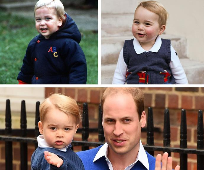 "Everyone's favourite royal rascal, Prince George, is a dead ringer for his dad at the same age. Side-swept part and all! Speaking about his little one, William says, ""George's pretty loud, but of course very good looking!"" We couldn't agree more."