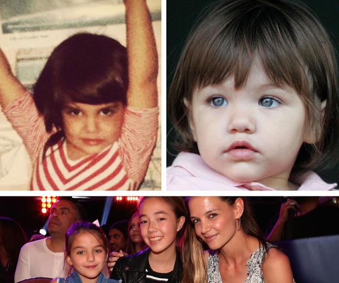 Question, is the photo on the left 6-year-old Katie Holmes or her daughter Suri Cruise? We understand if you don't know the answer; it could totally be both! No wonder they look so similar now.
