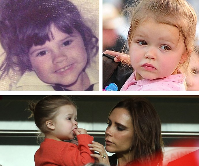 She might love a bit of soccer in the garden with older brothers, but Harper Beckham has definitely inherited a few things from mum Victoria, too. Judging by this childhood pic, the super-cute pair share the same cheeks, dark eyes and great hair. Plus a love for fashion, of course!