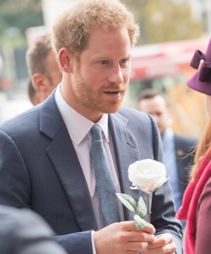 Harry was truly touched when a woman bought him a white rose. #PrinceHarryForBachelor2017