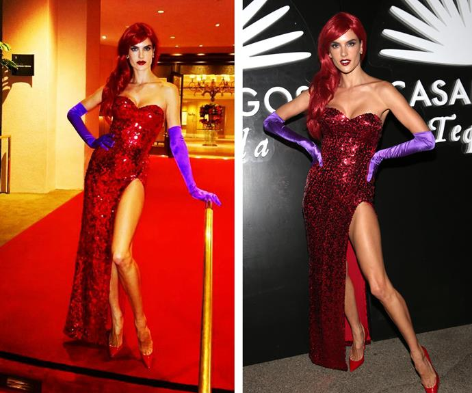 """So much fun being #JessicaRabbit last night,"" the Victoria's Secret angel Alessandra Ambrosio shared."