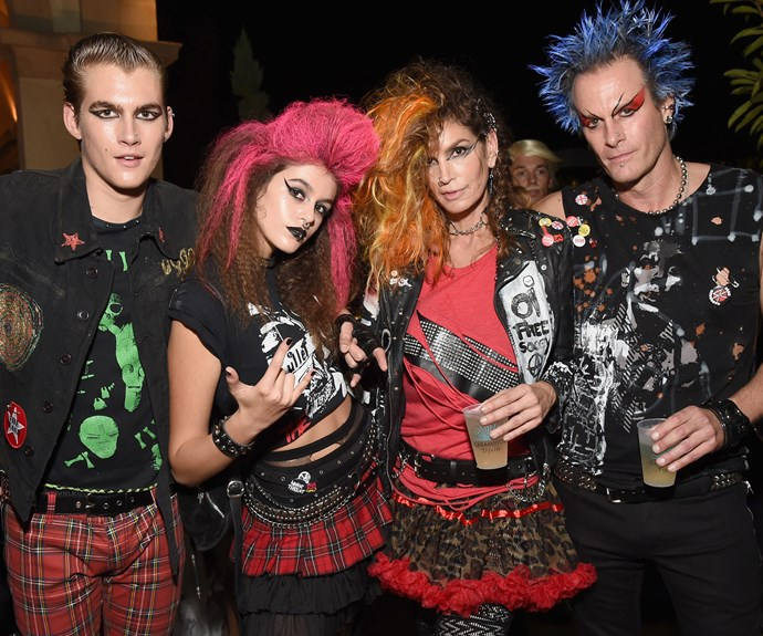 Cindy Crawford, husband Rande Gerber and their kids Presley and Kaia went as a gang of punk rockers.