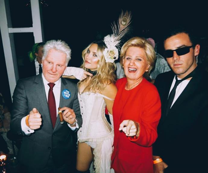 "Kate Hudson, who donned her best western look, awarded the top costume spot to songstress Katy Perry. ""#imwithher Best of the night ✨🎃✨"" she wrote on Instagram."