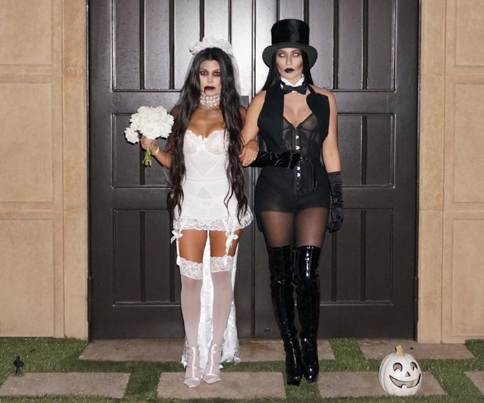 """""""Till death do us part,"""" a kreepy Kourtney Kardashian wrote beside this snap of her and a pal dressed as a zombie bride and groom."""