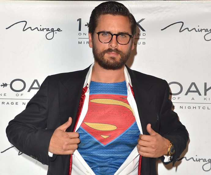 Kourtney's ex-husband Scott Disick let out his inner-superhero as he hosted an American Psycho Halloween bash at a Vegas nightclub.