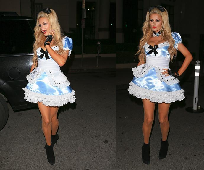 Paris Hilton opted for a sexy version of Disney's *Alice In Wonderland*.