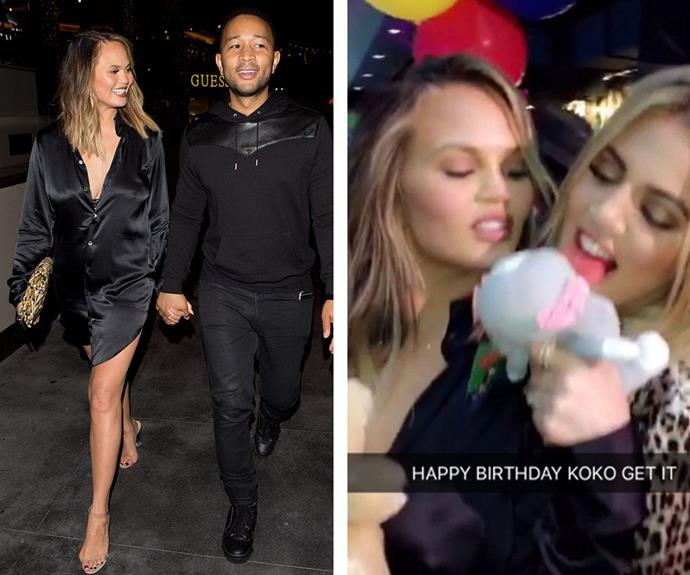 Close friends Chrissy Teigen and John Legend also joined Khloe to celebrate.