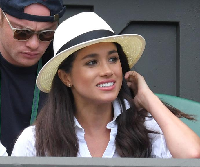 Megan, pictured at Wimbledon in June, has made several trips to London this year.