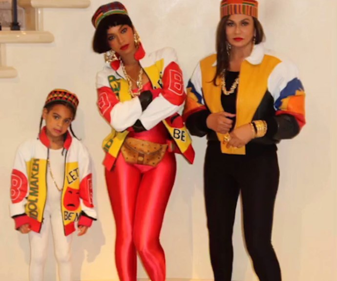 Three generations, including mamma Tina Knowles, Beyonce and daughter Blue Ivy, stepped back in time with this retro Salt-N-Pepa recreation. **WATCH the playful clip Queen Bey posted in the next slide for a sneak peak at Jay Z's costume!**