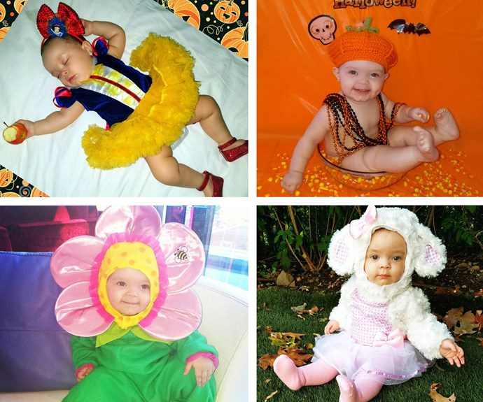 Coco Austin's daughter Chanel was absolutely spoilt for choice! The new yummy mummy simply couldn't choose between Snow White, a pumpkin, a daisy or a little lamb, so she had her mini-me don them all!