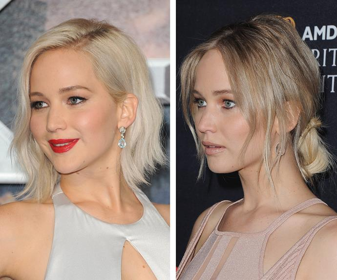 Jennifer Lawrence revealed that she had significantly toned down her platinum locks when she stepped out for the 2016 AMD British Academy Britannia Awards on Friday, October 28. Although subtle, the change made her eyes appear lighter, her skin more peachy and her features more defined!