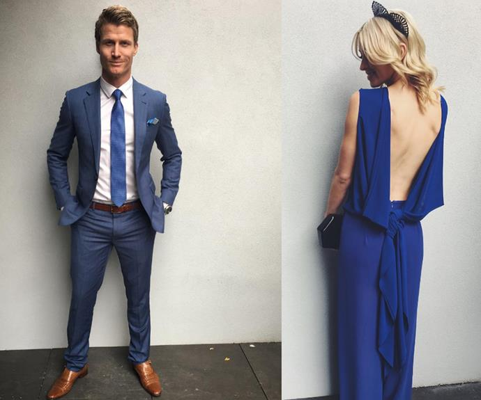A loved-up Alex Nation and Richie Strahan put their best foot forward in matching blue hues.