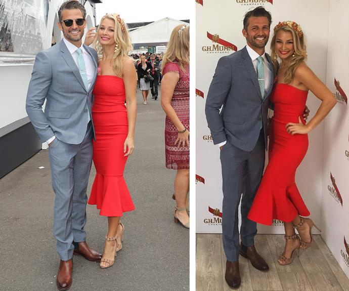 Anna Heinrich paints the town red in a figure-hugging, strapless number while putting on an affectionate display with *Bachelor* boyfriend Tim Robards.