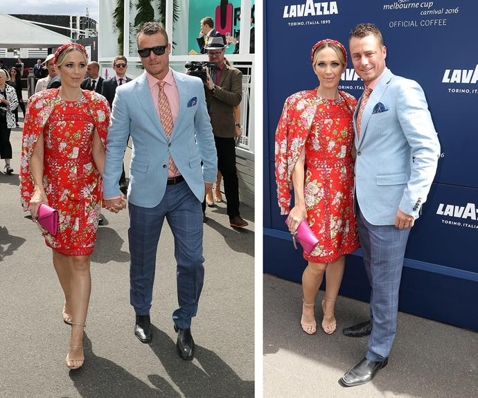 Lleyton Hewitt opted to colour clash with his wife in a dapper, blue blazer worn atop a salmon shirt.