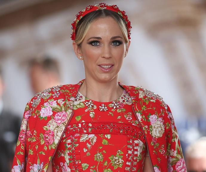 Bec Hewitt was the picture of elegance in an embellished, floral red frock paired with a statement headband by Christahlea.