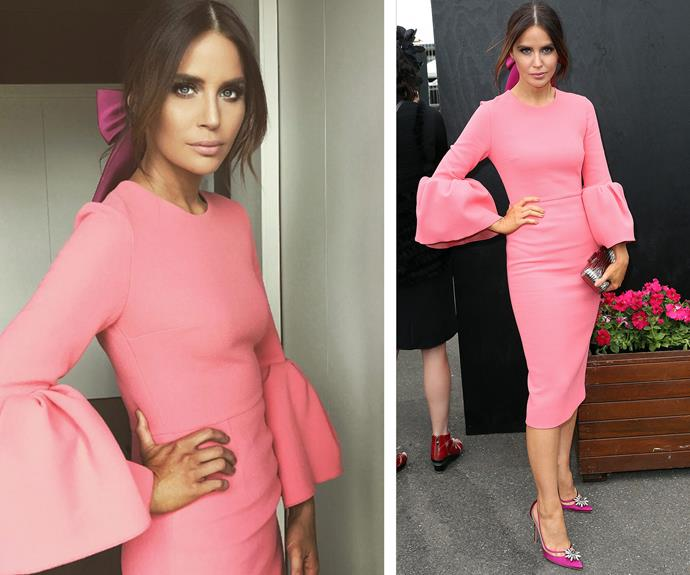 Jodi Anasta is pretty in pink with fuchsia accessories.