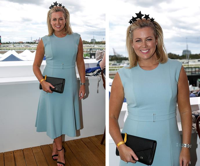 She may have been working the gig as a live TV host, but Samantha Armytage certainly brought her A-game in a pale blue frock.
