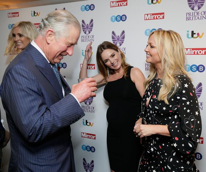 Coming full circle! Prince Charles shares a laugh with Geri and Emma at the Pride of Britain Awards in London.