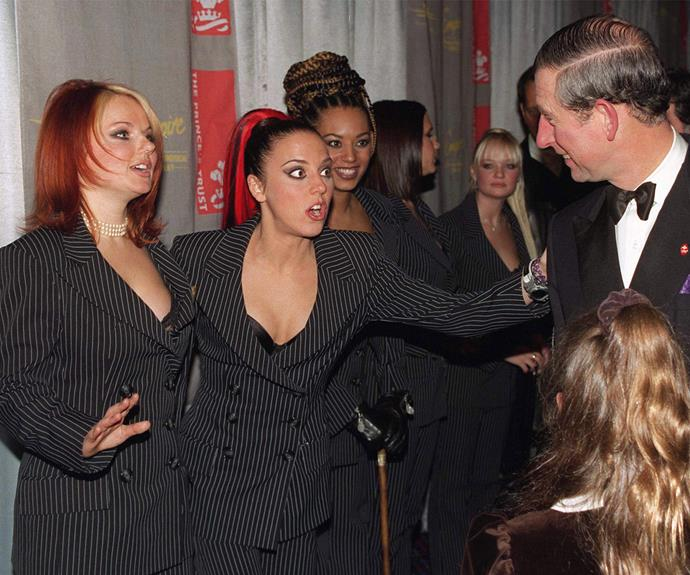 Geri Halliwell famously pinched Charles' bum during one of their encounters.