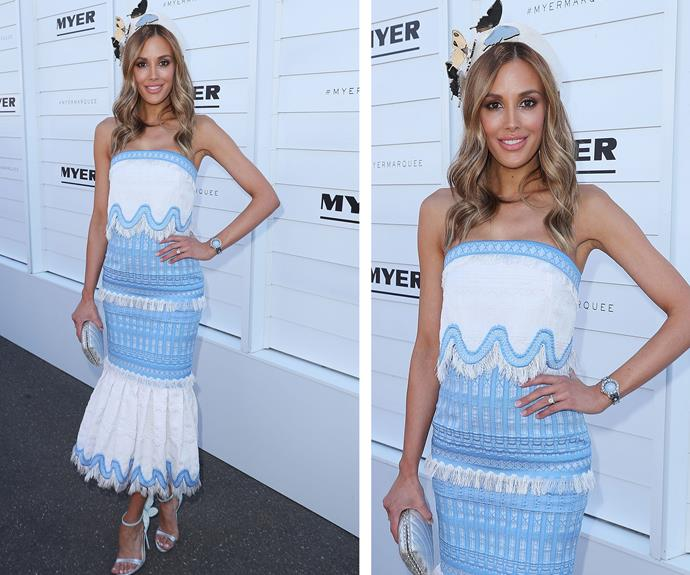 Just weeks after welcoming twin boys, Darcy and Tom, Rebecca Judd stepped out in a figure-hugging, blue and white lace midi dress.