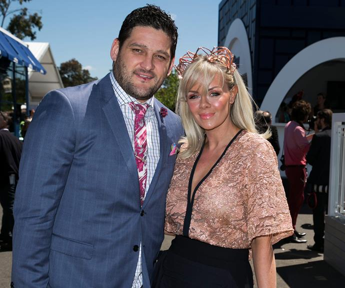 Footballer Brendan Fevola brought out his most decorative tie to match wife Alex's rose-gold get-up.