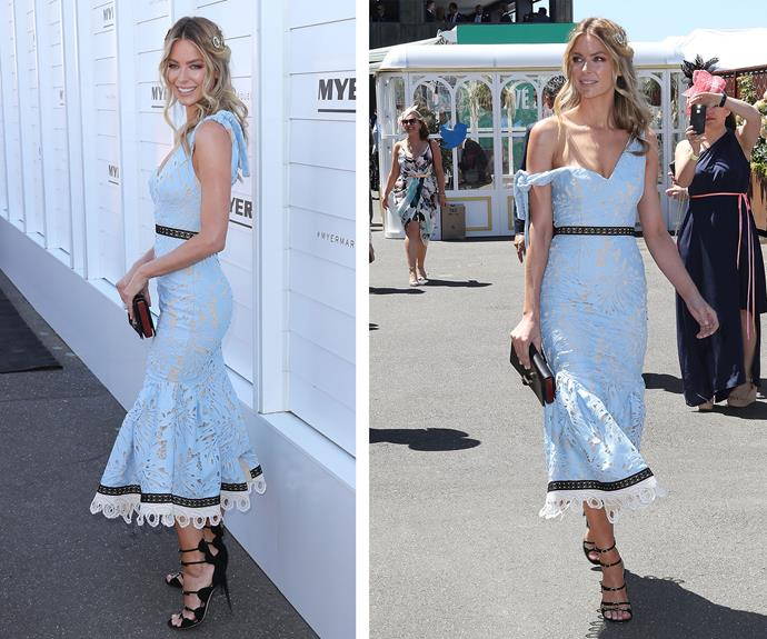 Jennifer Hawkins was the picture of grace in a one-shouldered, pastel blue Talulah dress.