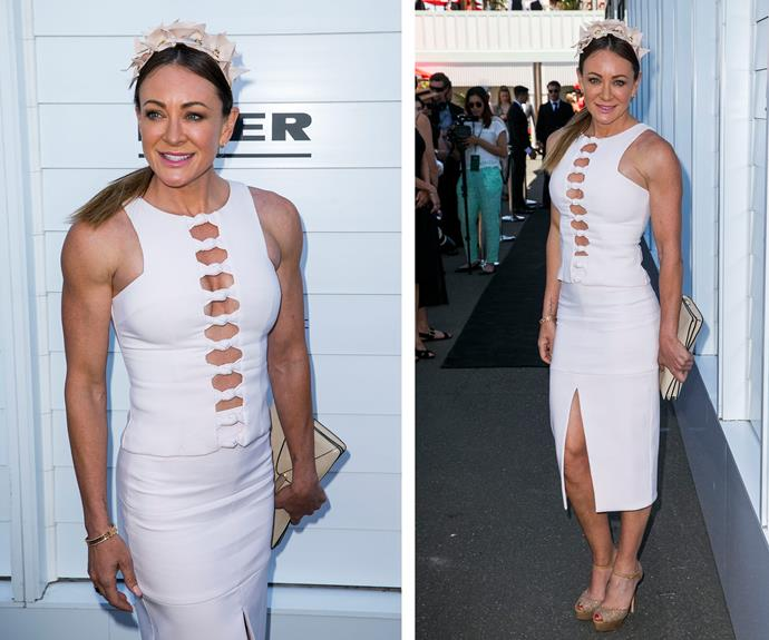 The Biggest Loser's Michelle Bridges accessorised her angelic headpiece with an elegant, white two-piece.