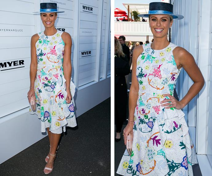 *Today Show* host Sylvia Jeffreys was all smiles in a colourfully embroidered sundress.