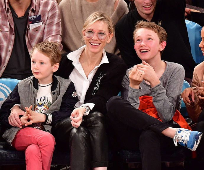 Cate Blanchett, 47, took time off from filming new movie to take sons Dashiell, 14, and Ronan, 12, to a basketball game in NYC.