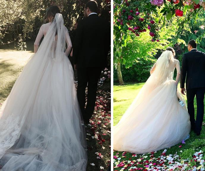 The bride opted for a traditional, custom made, Vera Wang gown.