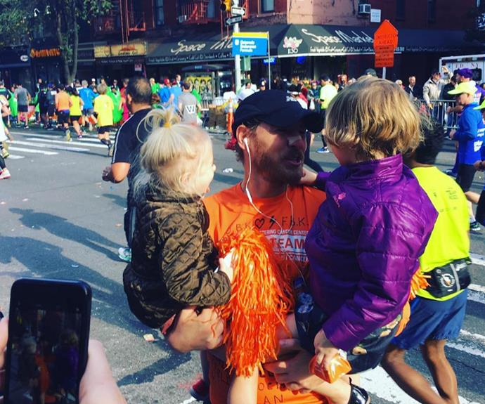 "Posting a series of snaps, Drew shared her proud congratulations by penning, ""#girlswhocheerdadon #nycmarathon well done!!!"""