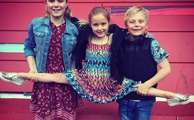Serving up three Hewitt mini-mes: Bec and Lleyton's kids Mia, Cruz and Ava look just like them
