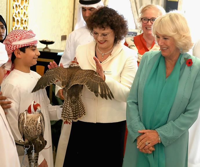 The Duchess met with several owls while she visited the Abu Dhabi Falcon Hospital on day two.